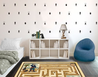 Bug Repeatable Wall Pattern Decal - Wall Decal Custom Vinyl Art Sticker for Nurseries, Classrooms, Bedrooms, Homes