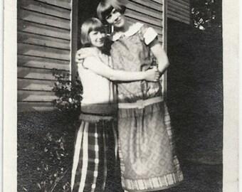 Old Photo 2 Affectionate Teen Girls Dress Plaid Skirt 1920s Photograph snapshot vintage