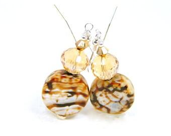 Vein Agate Earrings, Brown Agate, Crystal Stone Earrings, Gemstone Earrings, Gold Silver Earrings, Mixed Metal Jewelry, Stone Agate Earrings