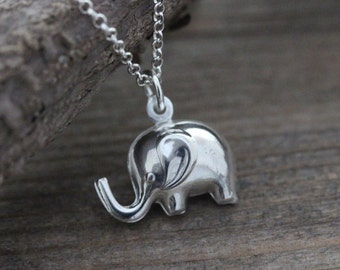 925 Sterling Silver Elephant Necklace, Puffy 3D Elephant Necklace - Good luck necklace. Lightweight elephant Charm.