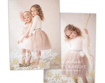 Christmas Card Template for Photographers, Christmas Photo Card Template for Photoshop, Holiday Card Templates, Photography Templates HC270