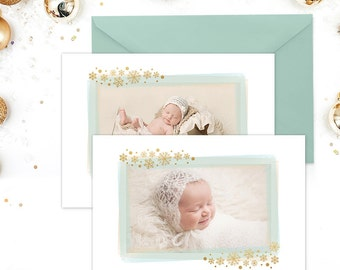 Christmas Card Template for Photoshop, Christmas Card Template for Photographers, Holiday Card Templates, Glitter Gold Blue Watercolor HC278