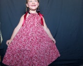 Red and Black Cherry Ribbons on Red Cherry Floral Tiered Pillowcase Dress Summer Dress Party Dress Sleeveless Sundress  Size Child Medium