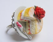 Food Jewelry, Cake Ring,  Victoria Sponge Cake, Miniature Food Ring, Gift for Baker, Mini Food, Handmade Ring, Dolls House, Kawaii Ring Food