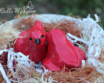 Red Ceramic Birds, Ceramic Love Birds, Bird Cake Toppers, Wedding Cake Toppers, Ruby Red, Ceramic Sculpture, by Laura Pallatin