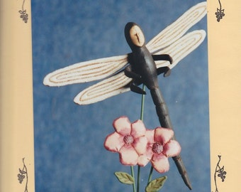 Dragonfly by Fruitfull Hands - Craft Doll Decoration - Designed by Susan M Backlund - Sewn and Painted Fabric Dragonfly on Stand