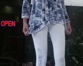 Handmade Hawaiian - Tunic Legging Set - Plus Size Top - Hawaiian Handmade - Cotton Tunic - Woman Tunic Top - Hand Painted T Shirt - Kauai