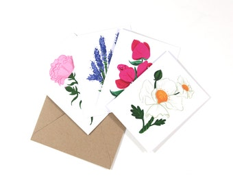 Floral Greeting Cards 1, Assorted Set of 8