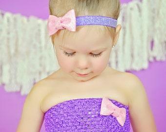 Pink and Purple Glitter Bow Headband