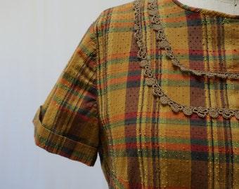 Vintage 60s Ocre Green Orange Brown Plaid Short Sleeve Mini Dress