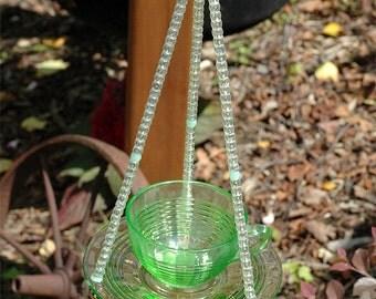 Vintage Green Glass Hanging Teacup Bird Feeder for Outdoors Garden