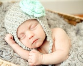 Crochet Baby Girl Earflap Hat, Gray with Tiffany Blue Flower