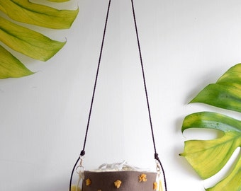 Acorn pompom basket bag, dark brown and orange, small handbag