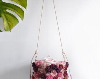 Rosie flower basket bag, red floral small handbag
