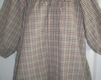 Peasant Blouse upcycled from a men's shirt 52 inch Large multi color plaid