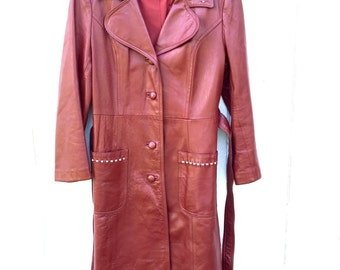 24 K Leather Dan di Modes Vintage 70's Brick Red Leather Trench Coat