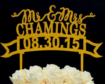 Personalized Last Name Wedding Cake Topper, Custom Mr and Mrs Acrylic Cake Topper, Personalized with YOUR Last Name 106