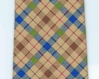 Handmade Tan and Blue Plaid Cotton Tie