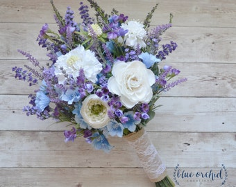 Rustic Wedding Bouquet, Blue and Lavender Wildflower Bouquet with Cream Ranunculus and Thistle
