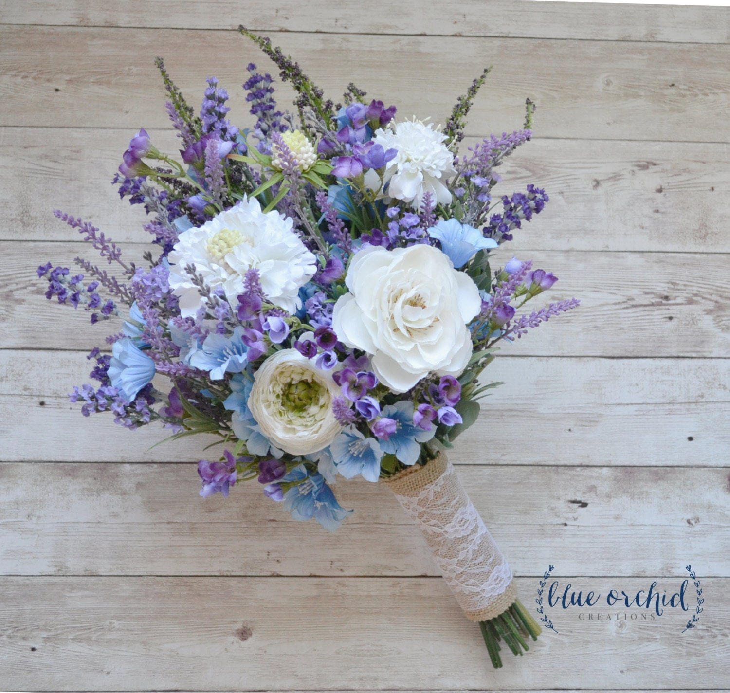 Wild Flower Wedding Bouquet: Rustic Wedding Bouquet Blue And Lavender Wildflower Bouquet
