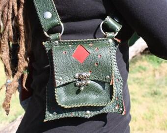 Green and Red Leather shoulder Holster bag