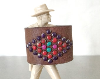 Wide Cuff Bracelet - Brown Leather Rainbow Cuff - Size Small