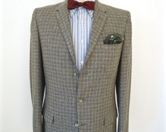 1960s Plaid Tweed 3-Button Sport Jacket / vintage green windowpane wool suit coat / men's large