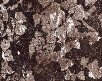 Ivy leaves original woodcut print hand printed bronze foliage limited edition relief print