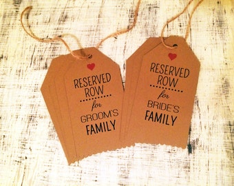 8 Reserved Row tags for wedding - Reserved Row for Bride's Family - Reserved Row for Groom's Family - rustic wedding theme, set of 8