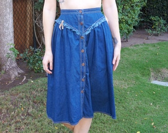 80's 90's High Waisted Denim Skirt, Mid Length Skirt, Country Western Skirt, Button Up Skirt, Cowgirl Western Clothing
