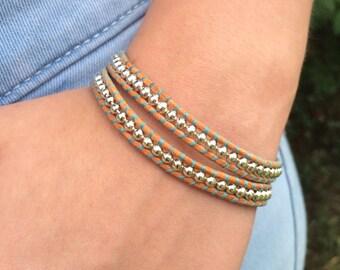 Leather Wrap Bracelet, Turquoise Bracelet, Sterling Silver Bracelet, Natural Leather Bracelet, Boho Wrap, Everyday Jewelry, Western Bracelet