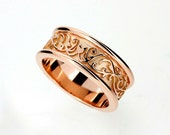 Wide Rose gold filigree wedding band, mens filigree ring, man rose gold wedding band, unique mens rings, modern, engagement, commitment ring
