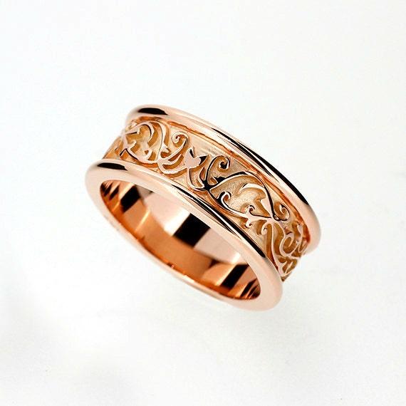 Filigree Ring Bands: Wide Rose Gold Filigree Wedding Band Mens By TorkkeliJewellery