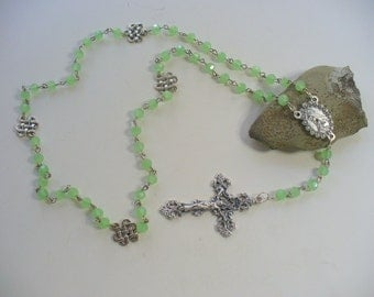 Seafoam Green Rosary Chain Necklace, Mary with Roses, Green Rosary Chain Necklace, Sterling Silver, Cross Necklace, Celtic Irish