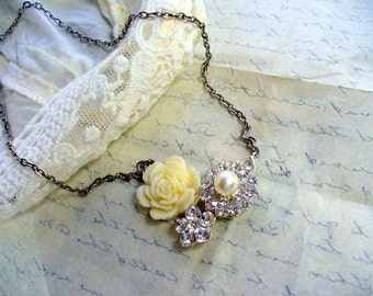Rhinestone Crystal and Pearl Necklace, Ivory Rose Choker Necklace, Antiqued Silver, Rhinestone Button, Pendant Necklace, Recycled Necklace