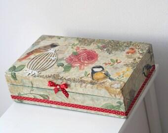 Bird Wedding Decor, Bird Jewelry Box, Bird Decor Box, Wedding Bird Box, Shabby Jewelry Box, Bird Trinket Box