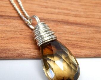 Quartz crystal gemstone drop necklace, sterling quartz necklace