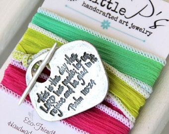 Wrap Bracelet, Christian Jewelry ~ This is the Day, Psalm 118:24, Inspirational gift for her