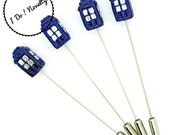Tardis - Doctor Who - Stick Pins - Corsage Pins - Lapel Pins - Boutonniere Pins - Groom - Dr Who Wedding