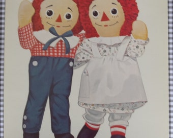 Vintage Raggedy Ann & Andy Large Flash Card || Peabody Picture Collection || Nursery / Child's Decor, Assemblage, Altered Art, Collage