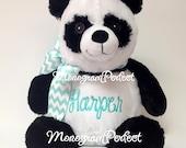"""Personalized, Monogrammed, 16"""" Plush Panda Bear Stuffed Animal, Soft Toy"""