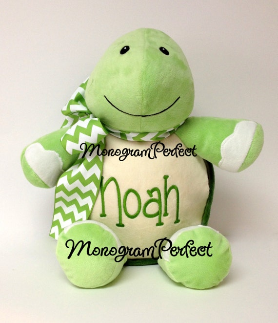 Personalized, Monogrammed Stuffed Turtle, Soft Toy, Plush, Pillow