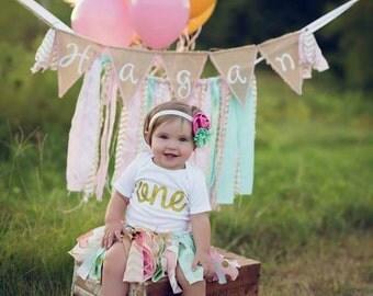 Pink Mint Gold Birthday Outfit Birthday Tutu 1st Birthday Girls Birthday Outfit Baby Tutu Shabby Chic Birthday Fabric Tutu Baby Girl Skirt