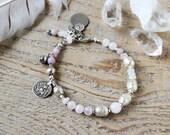 Rose quartz and silver Hanuman amulet bracelet,  yoga jewelry, gemstone jewelry, gift for her, bohemian ethnic jewelry