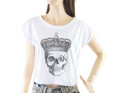Skull Halloween Crown shirt women shirt cropped tee crop tops