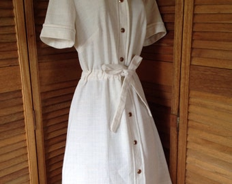 Vintage Dress, Off White Button Up Dress with Tie Waist