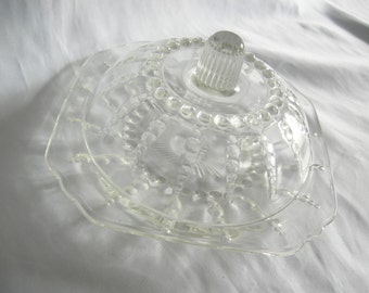 Clear Hobnail Domed Cheese Butter Dish | Unmarked Federal Glass | Vintage Mid Century
