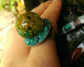 Chrysocolla and Moss Sphere Ring // Crystal Ball Boho Style Statement Ring