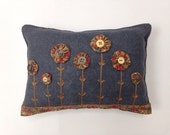 YoYo Flower Pillow With Applique and Embroidery, Felt Pillow, YoYo, YoYo's, OFG, FAAP, Fall Decor, Throw Pillow, Fabric YoYo's, OOAK