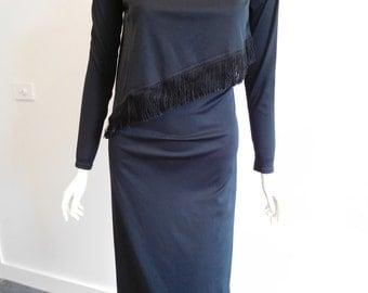 70s Black Tassel Dress Size 12 Au